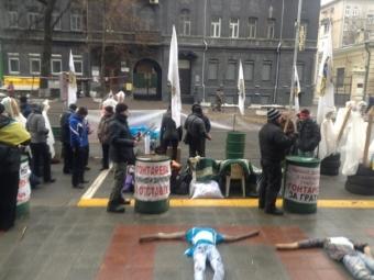 Нацгвардия разогнала митинг под НБУ— Финансовый Майдан