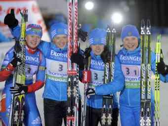Российские биатлонистки выиграли эстафету на Кубке мира