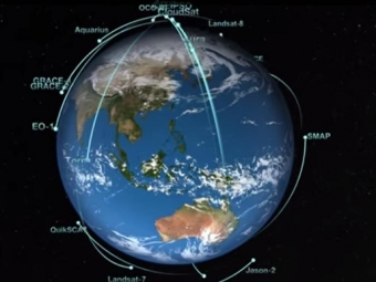 NASA показало «танец» орбитальных спутников вокруг Земли