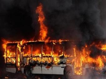 Ваэропорту Шереметьево загорелся автобус