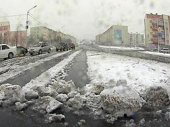 Снежная буря в Магадане