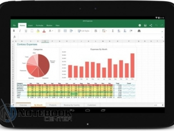 Множество изображений сенсорных версий Word, Excel иPowerPoint