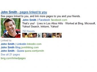 Поисковик Bing привяжет ссылки к людям